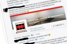 Popisy przedstawiciela firmy meblowej na Facebooku