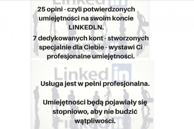 """Na popularnym serwisie aukcyjnym można wykupić usługę, która oferuje """"upiększenie"""" profilu założonego na portalu LinkedIn"""
