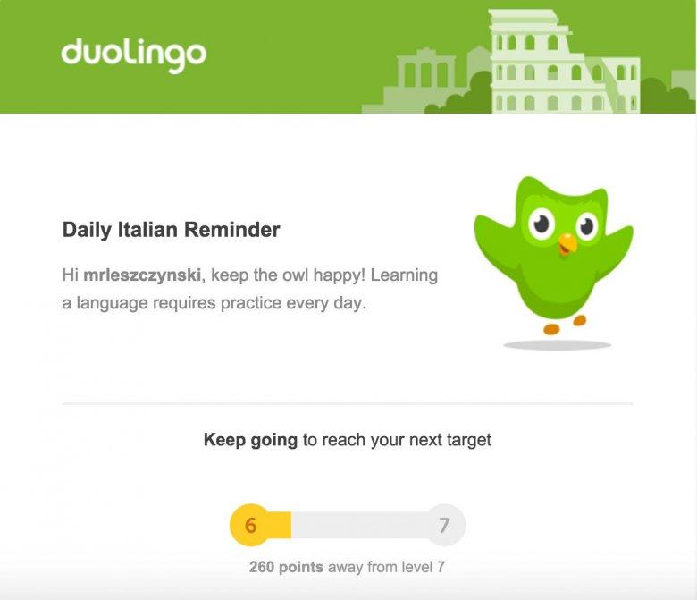 Codzienne przypomnienie o nauce języka od Duolingo
