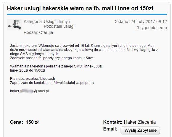 Ogłoszenie z jednego z polskich serwisów ogłoszeniowych.