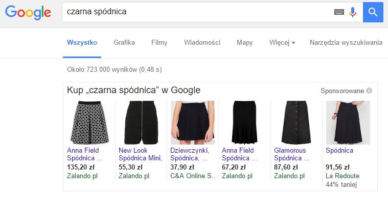 """Przykład Product Listing Ads na frazę """"czarna spódnica""""."""