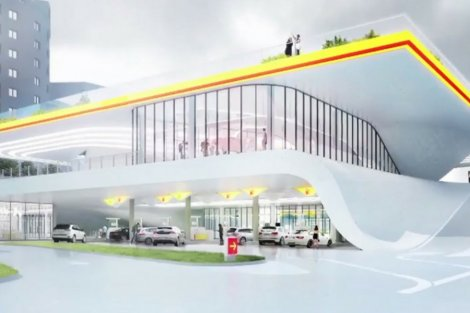 Wizualizacja warszawskiej stacji benzynowej przyszłości.