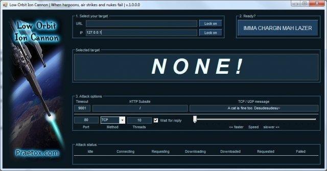 Niegdyś bardzo popularny, darmowy program do przeprowadzania ataków typu DDoS z domowego komputera.