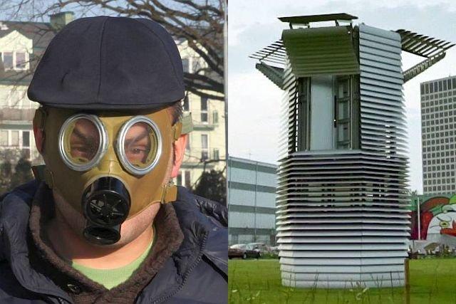 Radny Filip Pelc i wieża antysmogowa