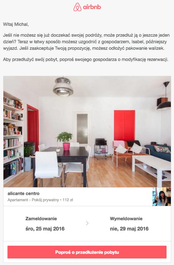 Upselling w automatycznej wiadomości Airbnb