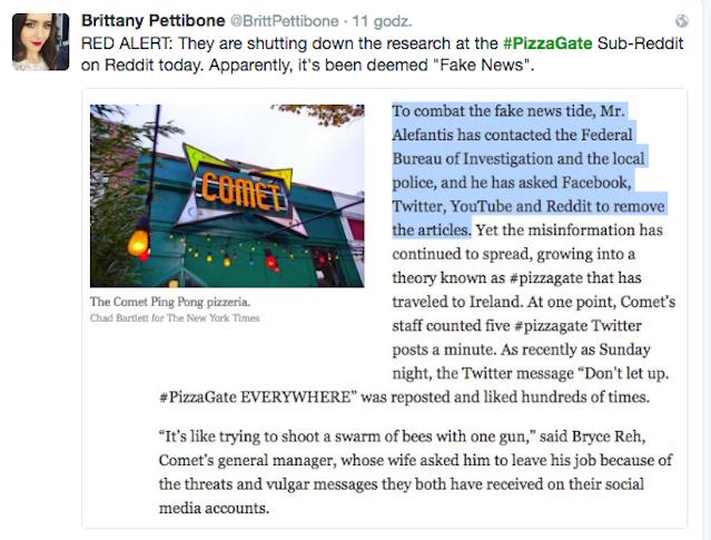 Reakcja na artykuł, dementującym teorie spiskową, dotyczącą Pizza Gate.