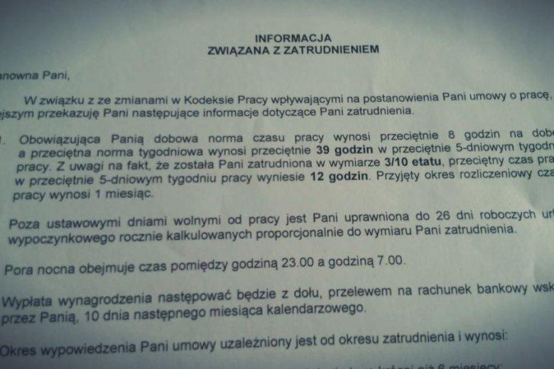 Fragment umowy o pracę w TK Maxx