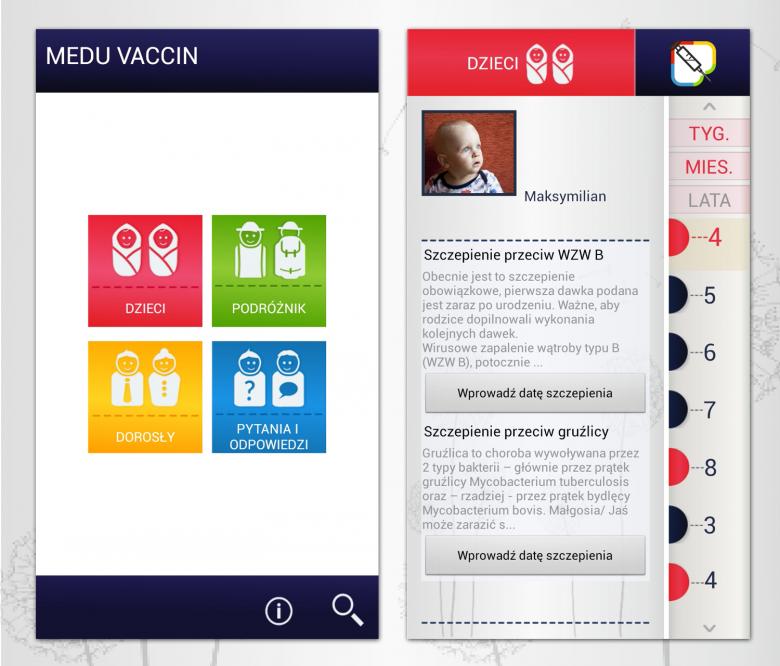 Aplikacja o szczepieniach dla rodziców/dorosłych.
