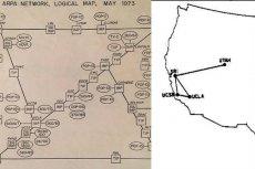 Dwie mapy, jedna z 1973, druga z 1969 roku. Cała dostępna wtedy sieć została tu umieszczona.