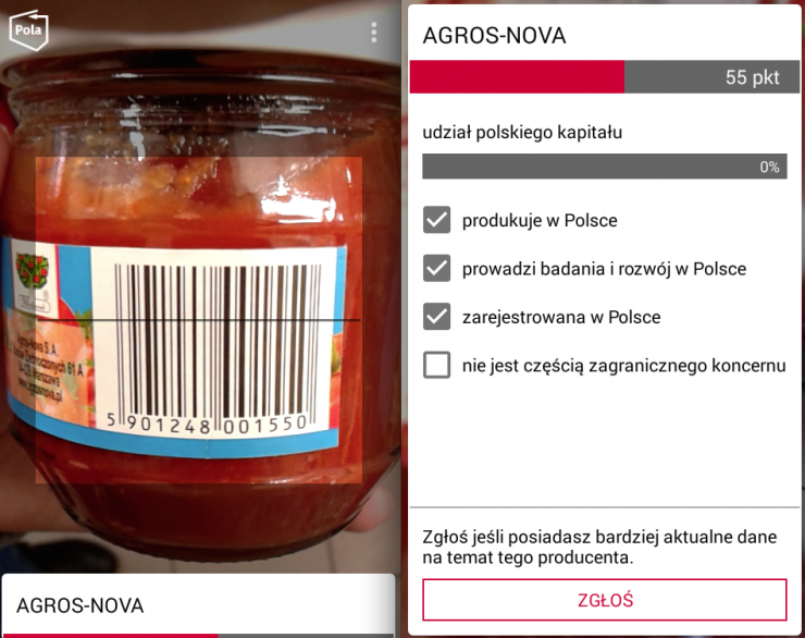 Koncentrat pomidorowy Włocławek, według Poli firmy Agros Nova, 55 punktów. W rzeczywistości należy do Grupy Maspex i powinien dostać 100 punktów