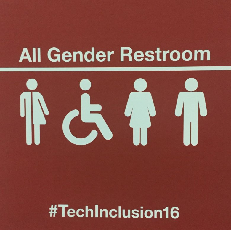 """Toalety (podobnie, jak już w wielu miejscach San Francisco) były oznakowane """"all gender"""" (wszystkie płcie)"""