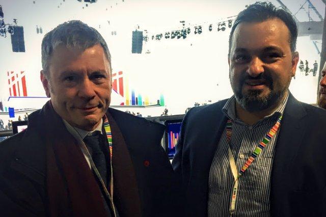 Michał Danielowski i Bruce Dickinson. Wokalista Iron Maden jest również właściciele firmy Cardiff Aviation