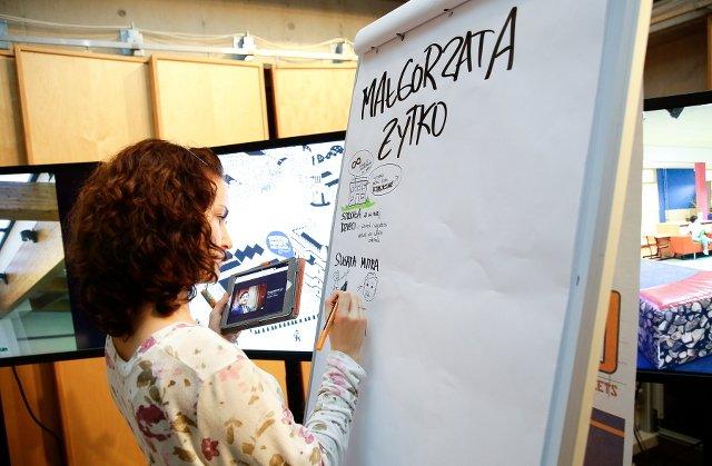 Mazak w jednej ręce, tablet w drugiej - narzędzia pracy graphic recordera