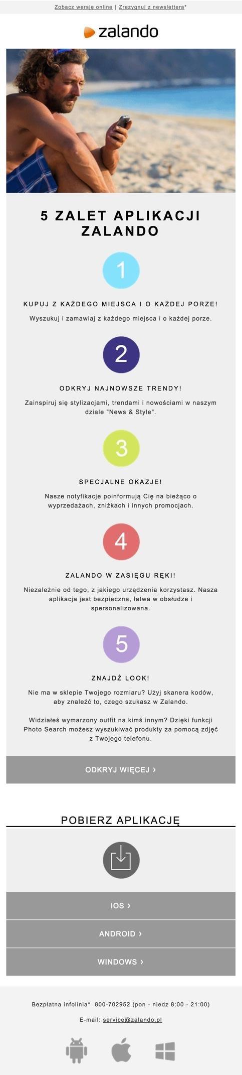 Wiadomość promująca aplikację mobilną Zalando