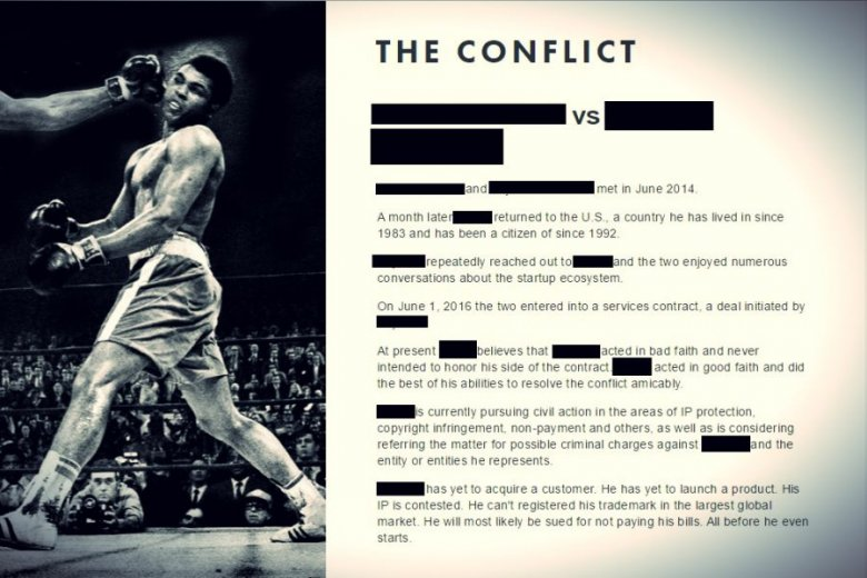 Tak wygląda fragment strony internetowej, na której bohater opisuje swój konflikt z szefem firmy S.