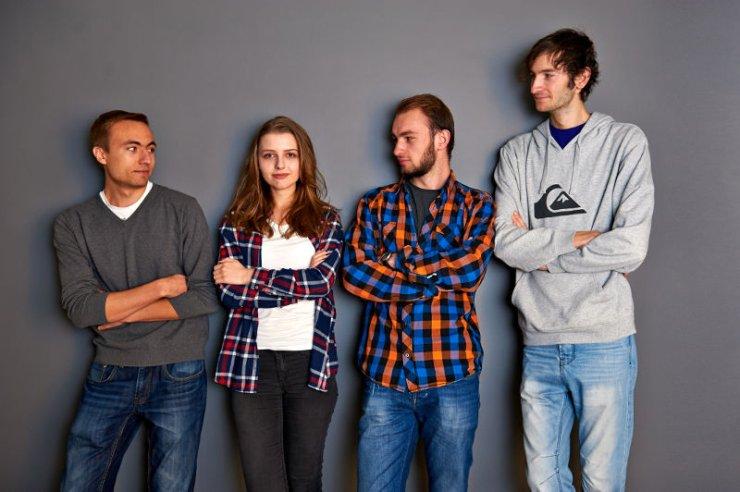 Anna Maksymenko stara się trzymać w ryzach zespół chłopaków z Politechniki. Na zdjęciu od lewej: Marcin Piorun, Anna Maksymenko, Mikołaj Marcinkiewicz i Przemysław Marcinkiewicz.