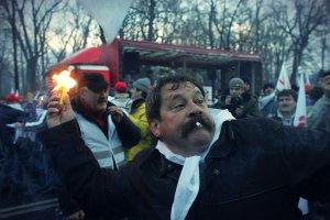 Protest związkowców przeciw polityce emerytalnej rządu.