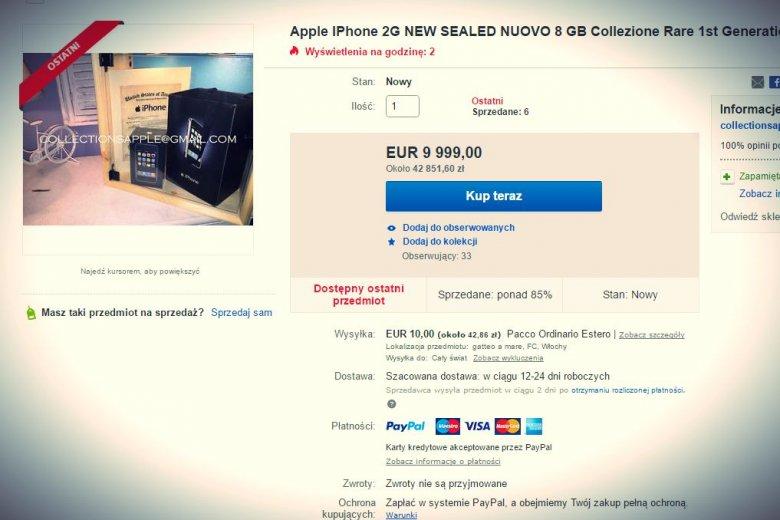 Iphone 1 nówka sztuka - 10 tysięcy dolarów, 6 sprzedanych sztuk.