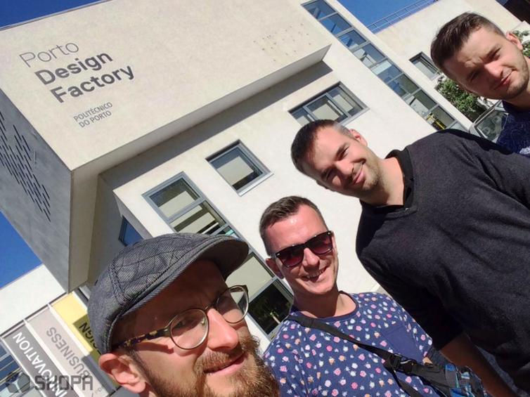 Wizyta w Porto Design Factory. Od lewej: Radek Ratajczak, Mateusz Wirwicki, Jussi Hannula oraz Filip Sieracki.