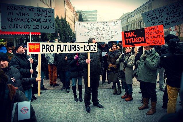 Protest frankowiczów w Łodzi.
