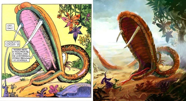 Kadr z komiksu i szkic koncepcyjny z prac nad filmem.