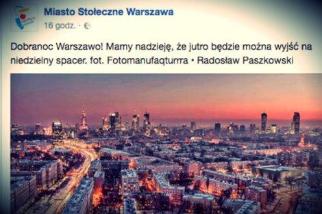 Screen posta zamieszczonego przez Miasto Stołeczne Warszawa na Facebooku.