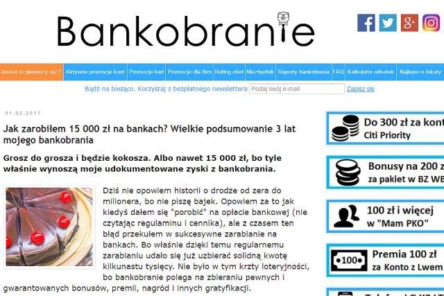 Screen ze strony Bankobranie.blogspot.com